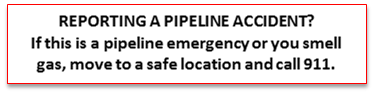 Reporting Pipline Accident information Instruction to call 911