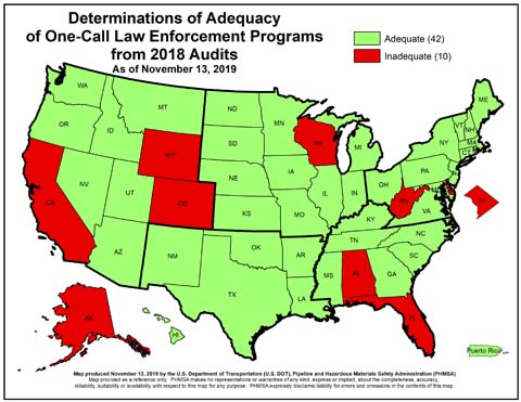 Adequacy of One-Call Adequacy Enforcement Map