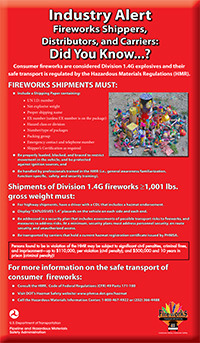 Industry Alert Poster for Fireworks Shippers, Distributors and Carriers