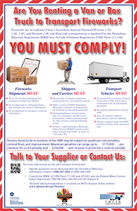 Van Rental for Transporting Fireworks Poster