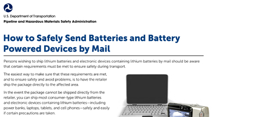 How to Safely Send Batteries and Battery Powered Devices by Mail