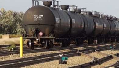 Train transporting crude oil